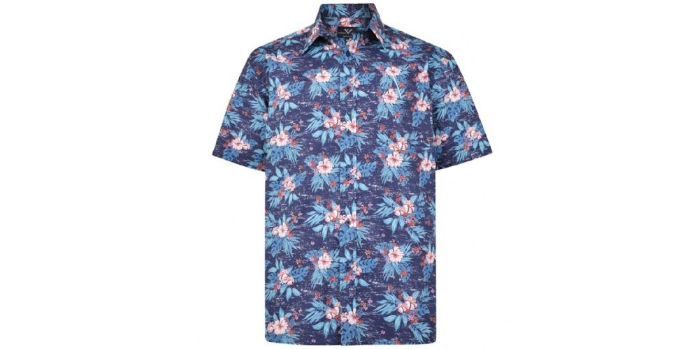cotton valley printed flower short sleeved shirt navy