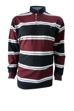 long sleeved stripe rugby polo shirt