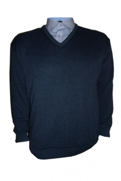 v neck two tone pullover