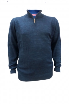 orleans melange knit zip neck jumper