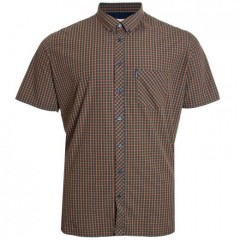 ben sherman twill gingham over check shirt