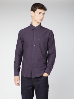 ben sherman organic signature oxford long sleeve shirt purple