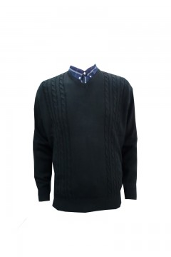 invicta v neck cable rib jumper black