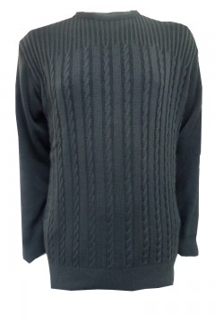 invicta crew neck cable rib jumper black