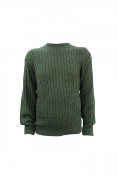 invicta crew neck cable rib jumper green