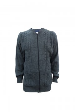 invicta cable knit zip cardigan navy
