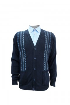 invicta jacquard button fastening cardigan