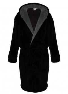 d555 newquay fleece hooded dressing gown black