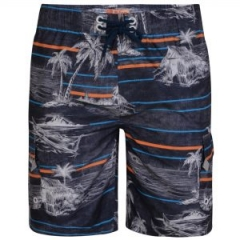 kam palm print swim shorts charcoal