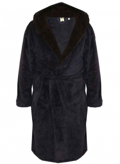 d555 newquay fleece hooded dressing gown navy